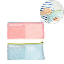 pencil case school supply net transparent simple mesh zipper stationery bag