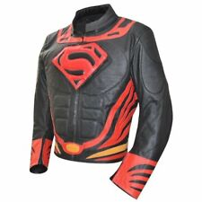 Superman Motorcycle Leather Jacket Motorbike Racing Rider Leather Sports Jacket