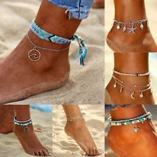 Fashion Starfish Turquoise Beads Rope Braided Anklet Beach Sandal Ankle Bracelet