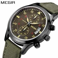 Megir Male Mens Watches Top Brand Luxury Green Quartz Watch Men Sport Chrom