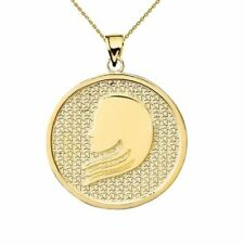 Solid 10k Yellow Gold Virgo Zodiac Disc Pendant Necklace