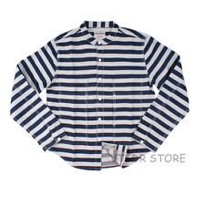 Fall Men's Motorcycle Washed Striped Shirt Stand Collar Rider Biker Jacket Shirt