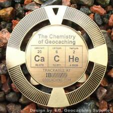 """CaCHe - Chemistry of Geocaching Geomedal Geocoin (2.5"""", Cutouts, Antique Finish)"""