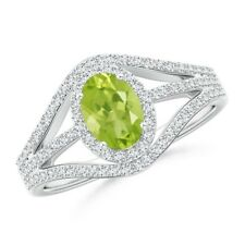 1.29tcw Oval Peridot Diamond Engagement Ring in 14k Gold/Platinum Size 3-13