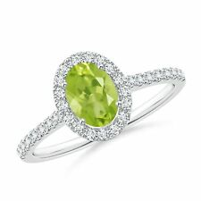 1.1tcw Oval Natural Peridot Diamond Halo Engagement Ring in 14k Gold/Platinum