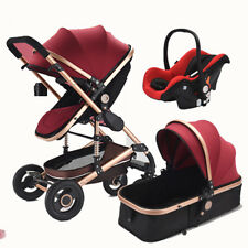 3 in 1 Pro Baby Stroller High View Pram Foldable Pushchair Bassinet & Car Seat