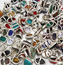 Coral & Mix Gemstone Wholesale Lot 50pcs 925 Sterling Silver Handmade Rings