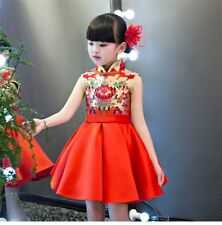Girls Chinese Cheongsam Dress Printed Turtleneck Ball Gown Kids Casual Clothing