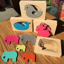 Wooden Puzzle Animal Cartoon Multi-Layer Children Kids Educational 3D Jigsaw Toy