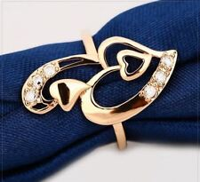 New Design Fashion Heart Shaped Gold Color Rings For Women Lo123