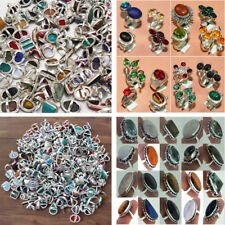 Choose !! 100pcs Gemstone 925 Sterling Silver Wholesale lot Rings All Sizes