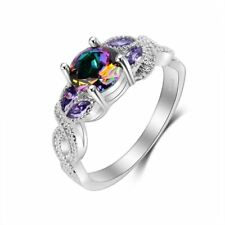 New Multi-colored Cz Crystal Decorated Wedding Ring For Women Lo141