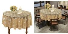 Simhomsen Beige Embroidered Lace Tablecloth 48 Inch Round