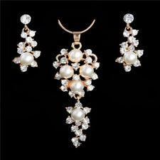 Simulated Pearl Bridal Gold Silver Color Flower Jewelry Set for Women