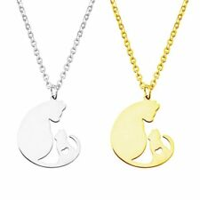 Stainless Steel Couple Cat Pendant Necklace Charm Mother's Day Jewelry Gifts