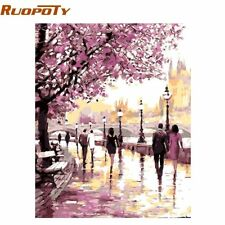 RUOPOTY Frame Cherry Blossoms Road Diy Oil Painting By Numbers Kits Wall Art