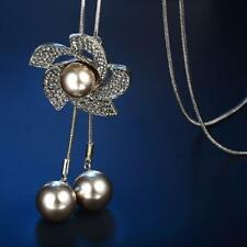Elegant Style Simulated-pearl Decorated Women Long Necklace Fashion Jewelry Ad97