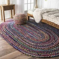 Natural Cotton Oval Rug Braided Colorful Floor Rugs Area Rag Rug Various Size