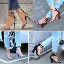 Womens Ladies High Block Heels Ankle Strappy Peep Toe Sandals Party Pumps Shoes