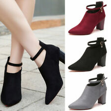 Women's Point-Toe Ankle Boots Buckle Ankle Strap High Block Heels Zip Shoes Size