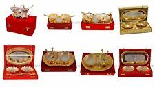 Indian Engraved Gold Plated Brass Artwork set of 5pc Serving Tray Spoon Bowl