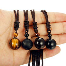 XAMS Gift Round Tigers Eye Gemstone Pendant Necklace Lucky Blessing Chakra Beads