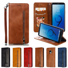 For Samsung S10 S9 S8+ S7 Note8/9 Magnetic Wallet Case Leather Zipper Flip Cover