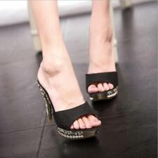 Fashion Women Platform Peep Toe Shoes High Heel Sparkly Sandals Mules Party New