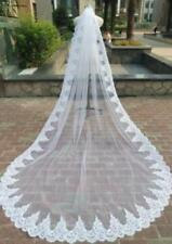 wedding veil 3M 1T white ivory cathedral lace edge Bridal Wedding Veil With Comb