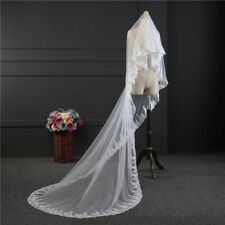 1 Layer White Ivory Cathedral Wedding Veil Tulle Lace Edge Sequins Bridal Veil