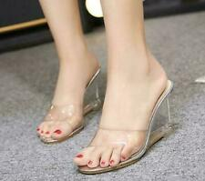 Hot Women's Open Toe Clear Transparent Hollow Out Wedge High Heel Sandals Shoes