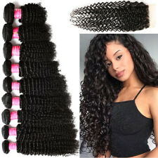 100% Brazilian Virgin Human Hair Curly Wave 1/3/4 Bundles With Closure Black US