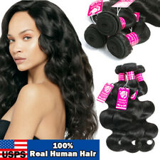 3 Bundles with Closure 100%  Brazilian Virgin Human Hair Body Wave FULL HEAD US