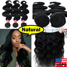 LONG 3 Bundles with Closure Brazilian Virgin Human Hair Body Wave FULL HEAD 8-30