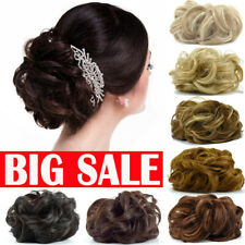 LARGE Curly Messy Bun Hair Piece Scrunchie Thick Hair Updo Extension HIGHLIGHT