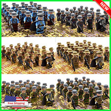 21pcs WW2 Military Army Soldiers Us Britain + Weapon Italy France Lego Building
