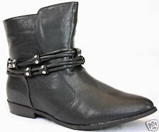 WOMENS VINTAGE BOOTS FLAT STUDDED ANKLE BOOTS SIZE 4 37