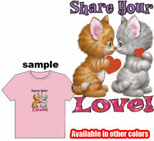 Share your LOVE! KITTENS Kids Child Girl COLOR T-Shirt