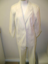 Susan Graver Metallic Stripe Seersucker Jacket & Crop Pant Set  Pink NWOT