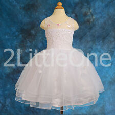 Beaded Tulle Dress Wedding Flower Girl Party Formal Occasion Size 12m-4T #032