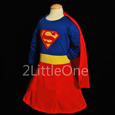 Superwoman Girl Superhero Hero Fancy Party Dress Up Costume Outfit Size 3T-9 003
