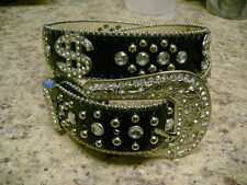 NEW Rhinestone $ Money Sign Black Leather Belt