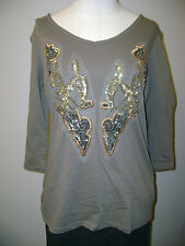 Cha Cha Vente Beaded Front 3/4 Sleeve Knit Top NWT $44