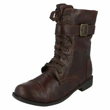 Girls Spot On brown synthetic mid calf length boot G8200