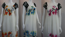 NEW LADIES WOMEN LONG MAXI DRESS FLORAL PRINT ONE SIZE