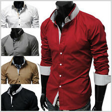 THELEES Men Fashionable Casual Premium Strechy Slim Fit Long Sleeve Dress Shirts