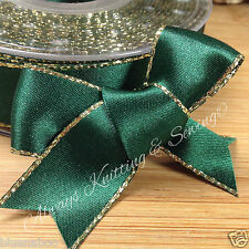 2 metres xmas green / gold edge satin ribbon 7mm 15mm 25mm