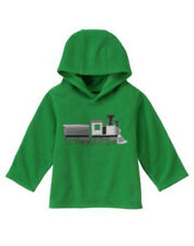 NWT Gymboree Snow Tracks Train Green Hooded Fleece Jacket Pullover 3 6 12 24 m