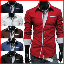 (N320) TheLees Mens Casual Long Sleeve Stripe Patched Fitted Dress Shirts