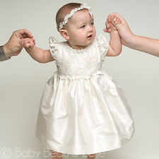 "Baby Beau & Belle ""Penelope"" Baby Girls Silk Christening,Baptism,Blessing Dress"